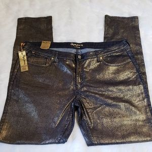 NWT Gold Coated Skinny Jeans by Pepe London 38
